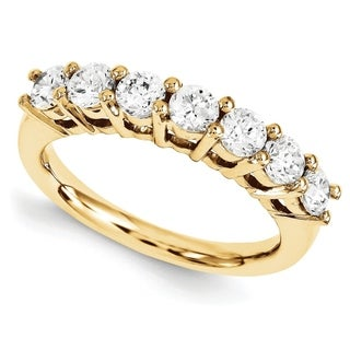14 Karat Yellow Gold True Light Moissanite 7 Stone Band