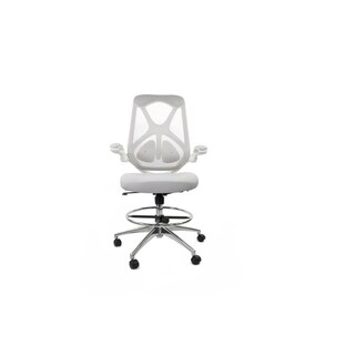 Frasch High Back Ergonomic Mesh Drafting Chair with Adjustable Lumbar Support, Memory Foam Molded Seat and Flip-up Arms