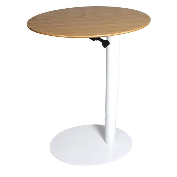 Frasch 26u201dx20u201d Oval Height Adjustable Cafe Table With Gas Piston Steel Base  And