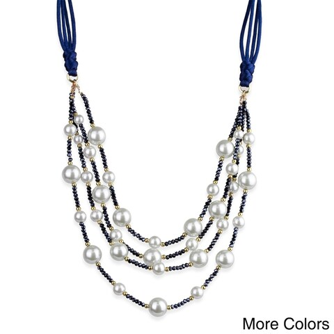 Handmade Saachi Pearl 4 layer Necklace (China) - Blue