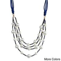 Handmade Saachi Pearl 4 layer Necklace (China) - Blue