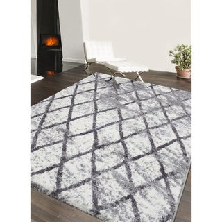 eCarpetGallery Loft Grey/Ivory Shag Area Rug - 8 x 10