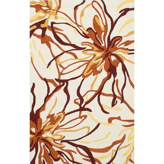 eCarpetGallery Riviera Ivory/Orange Abstract Area Rug (7'6 x 9'6)