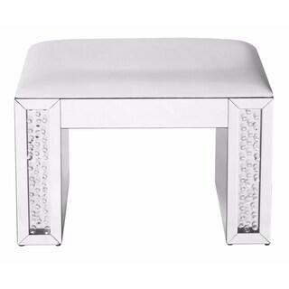 Elegant Lighting White Leather and Crystal 26-inch Vanity Stool