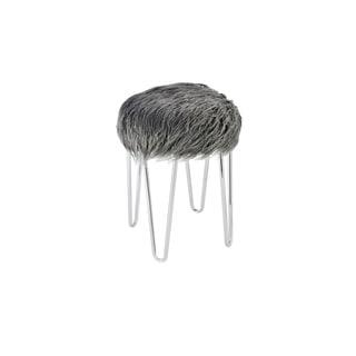 Elegant Lighting Grey Fabric and Metal Vanity Stool