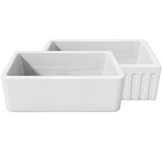 LaToscana White 30-inch x 18-inch Reversible Farmhouse Fireclay Sink