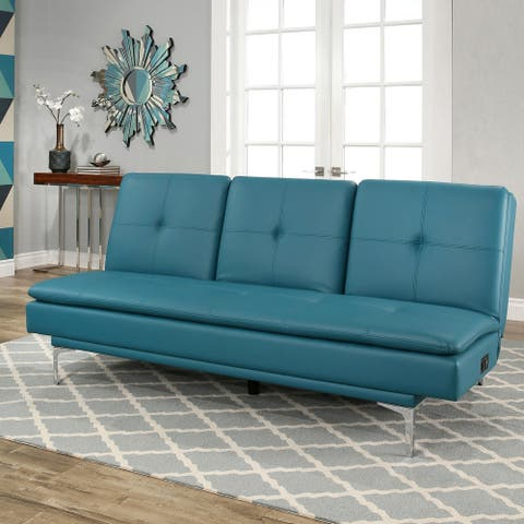 Abbyson Kilby Turquoise Bonded Leather Sofa Bed with Console and USB Ports