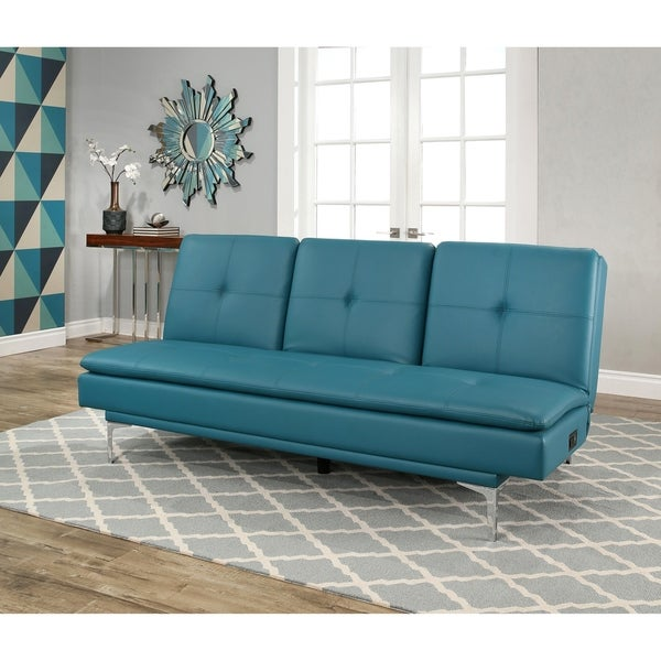 Shop Abbyson Kilby Turquoise Bonded Leather Sofa bed with Console ...