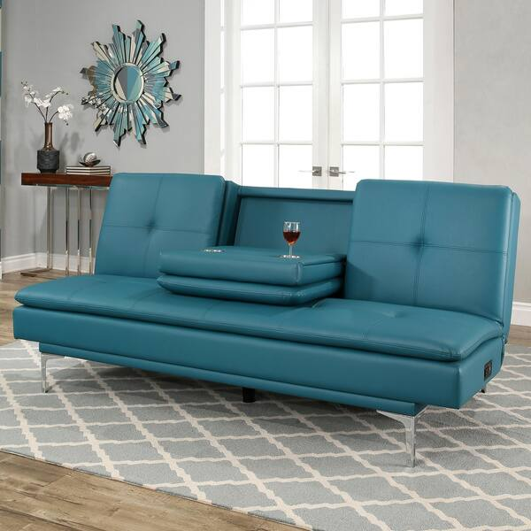 Strange Shop Abbyson Kilby Turquoise Bonded Leather Sofa Bed With Cjindustries Chair Design For Home Cjindustriesco