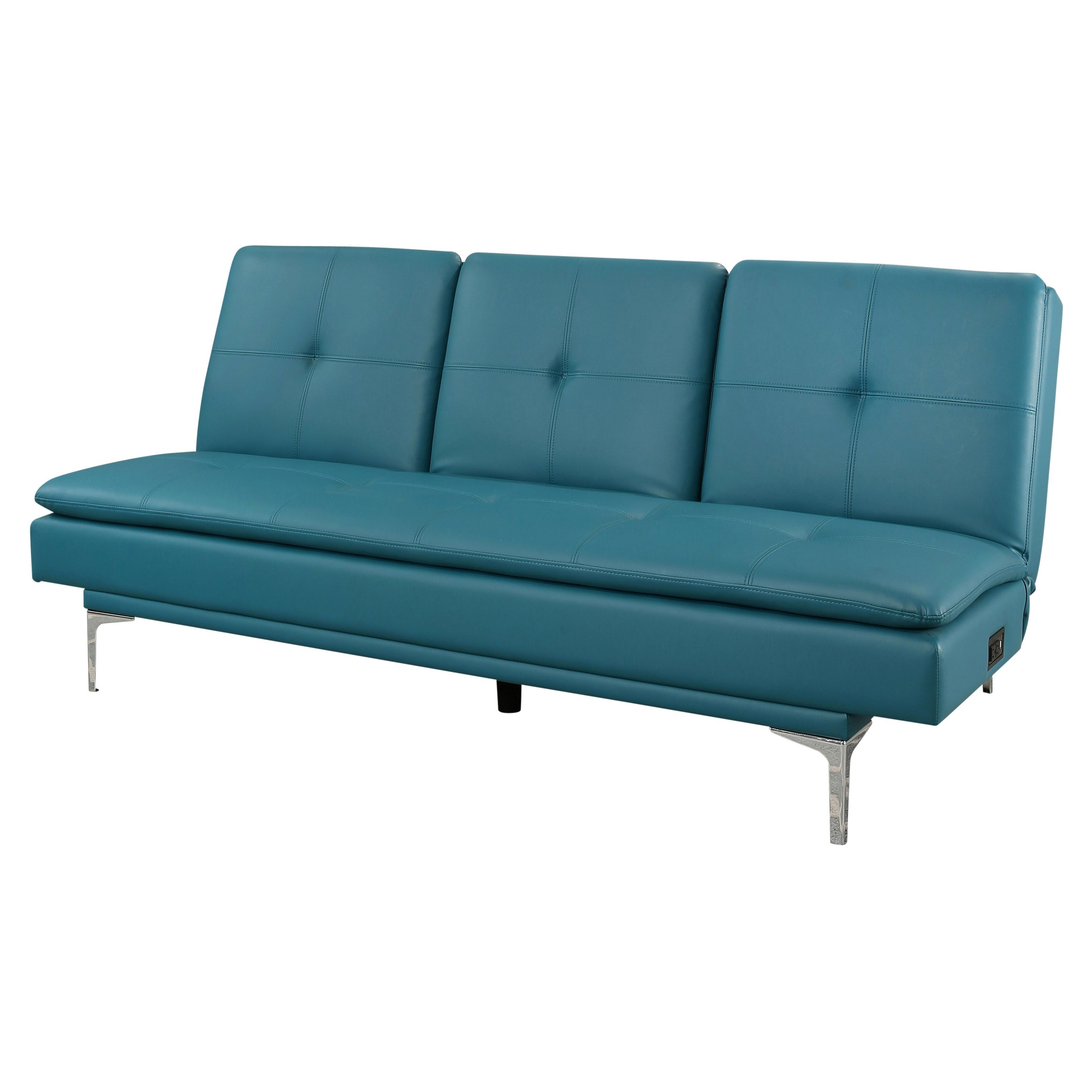 Abbyson Kilby Turquoise Bonded Leather Sofa bed with Console and USB