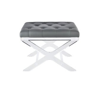 24 inch Tufted Synthetic Leather Bench in GREY