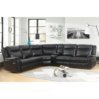 Abbyson Everett Black Reclining Sectional with Console