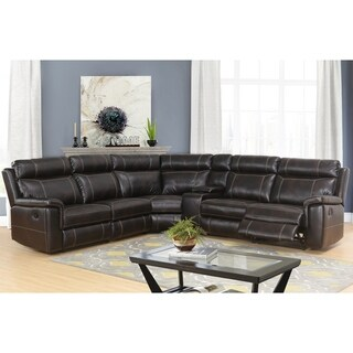 Abbyson Montana Espresso Brown Reclining Sectional with Console