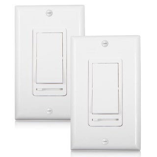 Maxxima 3-Way / Single Pole Decorative LED Slide Dimmer Rocker Switch, Wall Plate Included (Pack of 2)