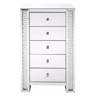 Elegant Lighting Clear Mirror Finish Crystal 29-inch 5-drawer Chest