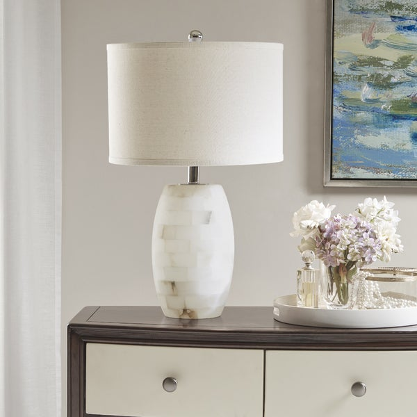 Madison Park Signature Clapham White Table Lamp with White Drum Shade