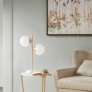 Madison Park Signature Holloway White/ Gold Table Lamp with White Round Shade
