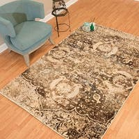 Westfield Home Cairo Collection Lilou Distressed Brown Area Rug (7'10 x 10'6)