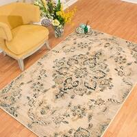 Westfield Home Cairo Chiara Beige Distressed Parchment Area Rug (7'10 x 10'6)