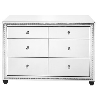 Elegant Lighting Crystal Clear Mirror Finish 47-inch 6-drawer Cabinet