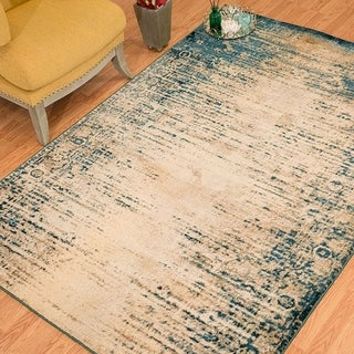 """Westfield Home Cairo Keely Distressed Cerulean Area Rug - 7'10"""" x 10'6"""""""