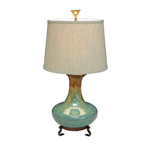 Urban Designs Emma Turquoise And Golden Brown Glazed Ceramic Tabletop Lamp