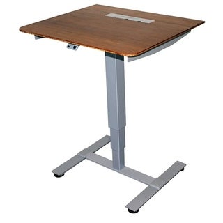Frasch - One leg Electric leg Sit Stand Table with Sturdy Base and 27x24 DARK Bamboo Top