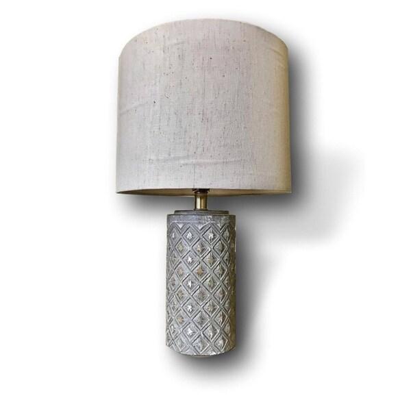 Handmade Grey Ceramic Sun Table Lamp with Off-White Linen Shade