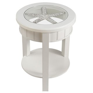 Seahaven Round  Glass Top Accent Table White