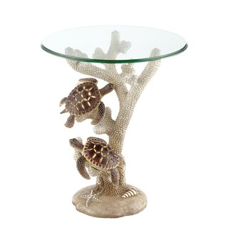 Seahaven Turtle Night Light Accent Table Ivory