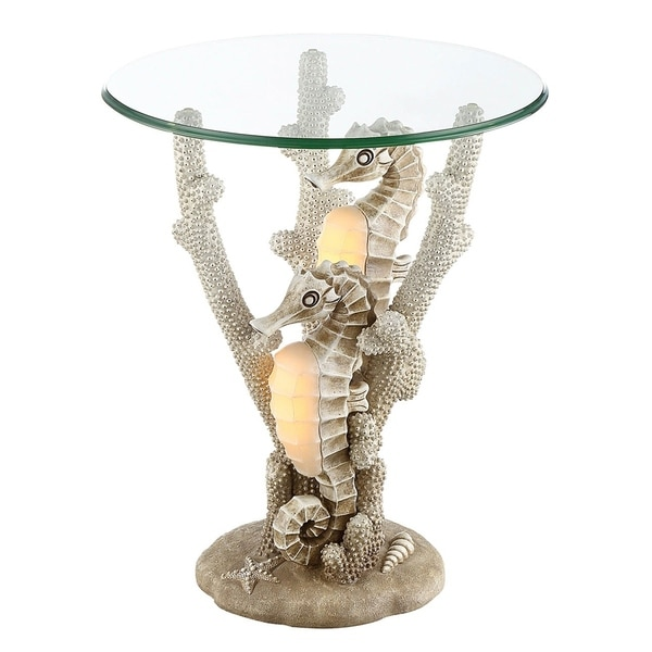Shop Seahaven Seahorse Night Light Accent Table Ivory On Sale - Seahorse coffee table