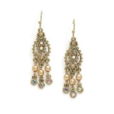 1928 Jewelry Gold Tone Light Brown AB Chandelier Earrings