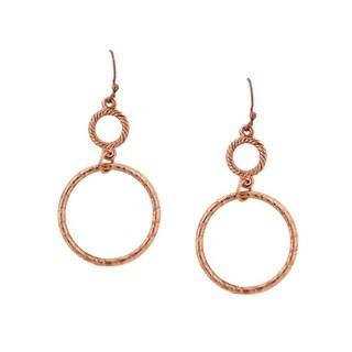 1928 Jewelry Copper Double Hoop Wire Earrings