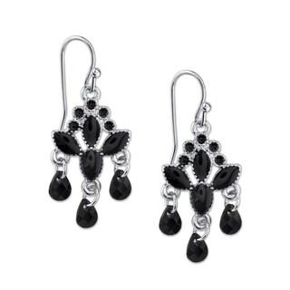 1928 Jewelry Silver Tone Black Drop Earrings