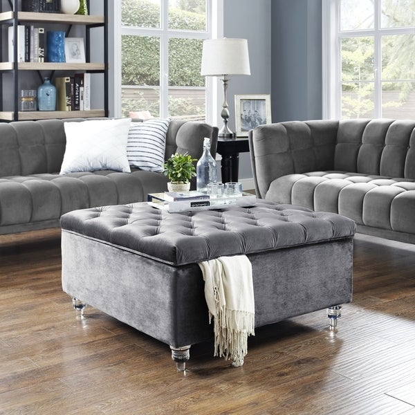 Belini Modern Velvet On Tufted Storage Ottoman Coffee Table