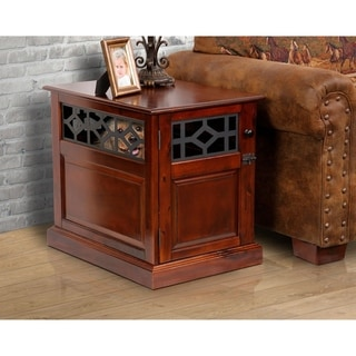 American Furniture Mahogany Finished Real Wood Small Dog Crate And End Table