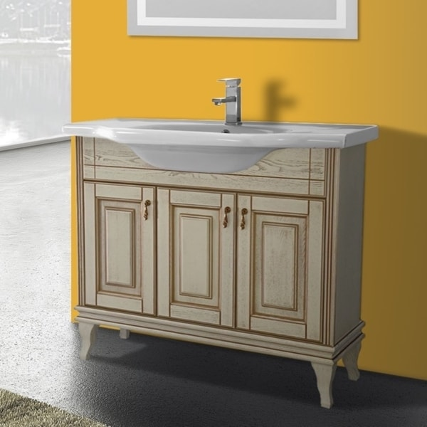 Vanilla Finish Wood Inch Vanity Cabinet With Fitted White Ceramic - 39 bathroom vanity cabinet