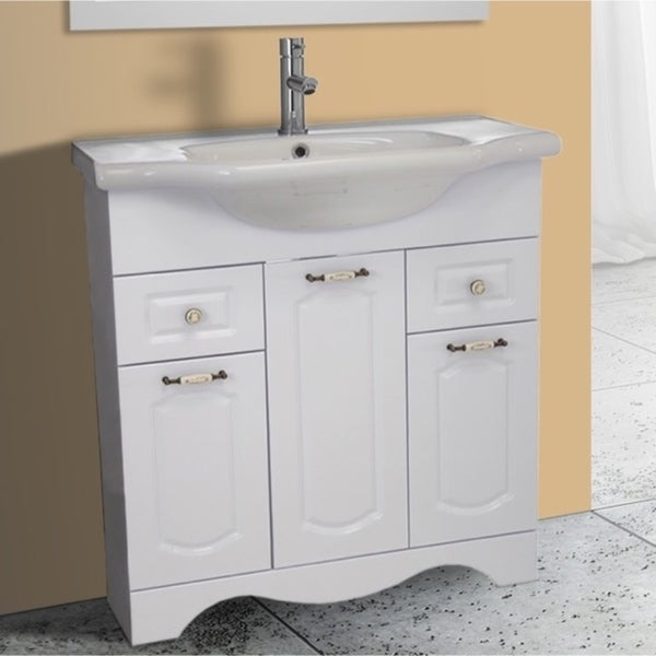 31 Inch White Vanity Cabinet With Fitted Sink   White Finish
