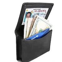 AFONiE RFID Blocking Business Leather Card Case Bi-fold Wallet