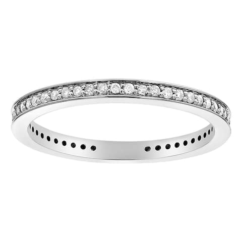 10K White Gold 1/4 carat TDW Classic Eternity Band Ring - White H-I