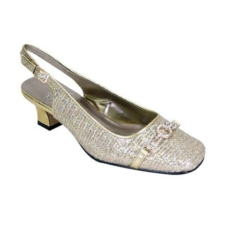 FLORAL Chelsea Women Extra Wide Width Crystal Design Toe Cap Slingback