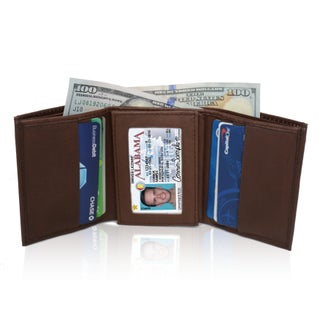 AFONiE RFID Blocking Soft Genuine Leather Tri-fold Wallet