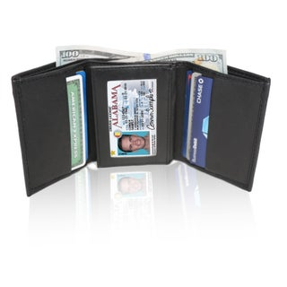 AFONiE RFID Blocking Soft Genuine Leather Tri-fold Wallet (Option: Black)