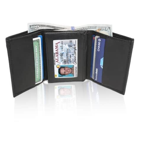 AFONiE RFID Blocking Soft Genuine Leather Tri-fold Wallet
