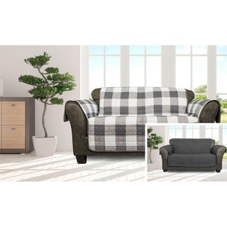 Quick Fit Alba Collection Checkered Quilted Reversible Loveseat Protector