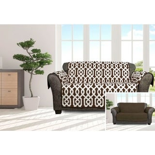 Quick Fit Ashmont Collection Geometric Quilted Reversible Loveseat Protector
