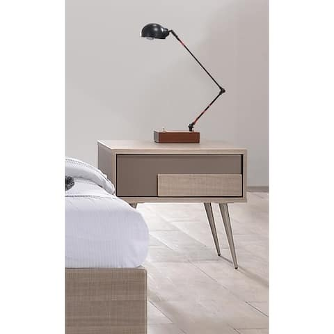 Strick & Bolton Meade Taupe Bronze Nightstand