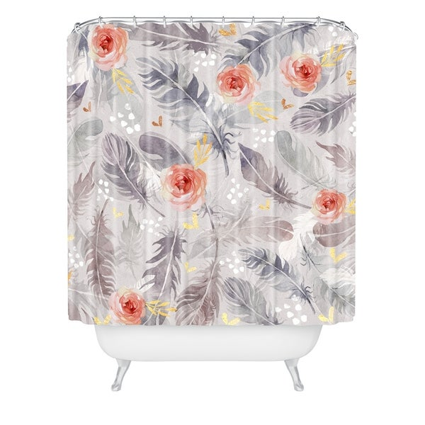 Marta Barragan Camarasa Abstract Floral With Feathers Shower Curtain