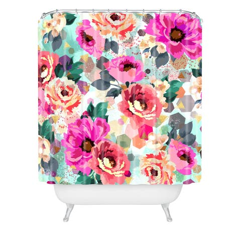Marta Barragan Camarasa Abstract Geometrical Flowers Shower Curtain