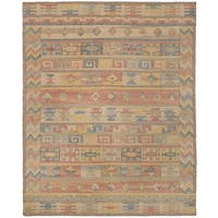 eCarpetGallery Kozak 17110 Brown/Yellow Wool/Cotton Flatweave Sumak Rug - 8' x 10'